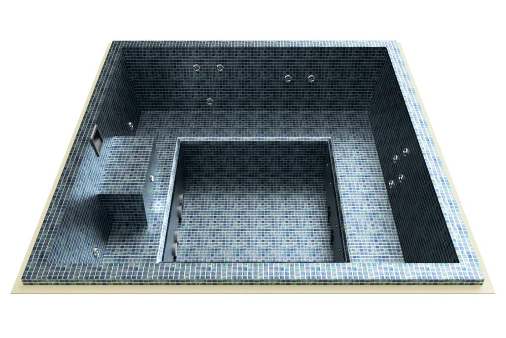 spa carrelé en mosaïque carré à skimmer
