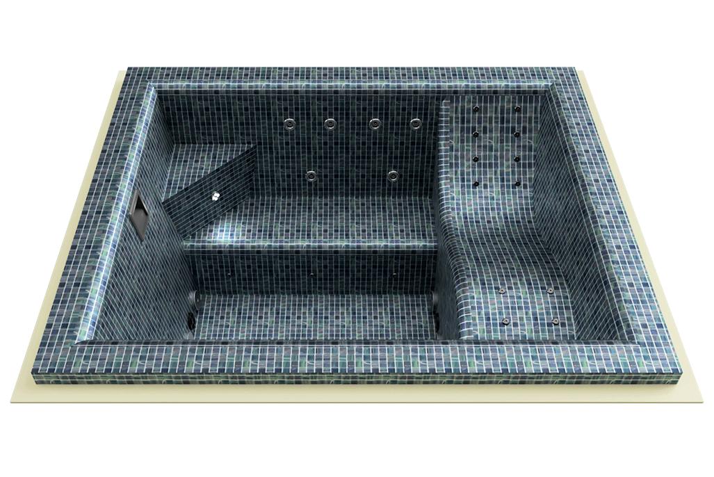 spa carrelé mosaïque rectangulaire
