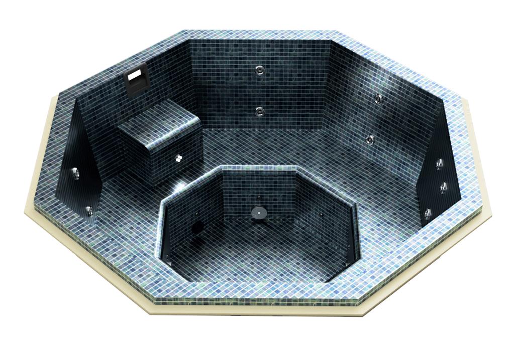 Spa carrelé octogonal à skimmer