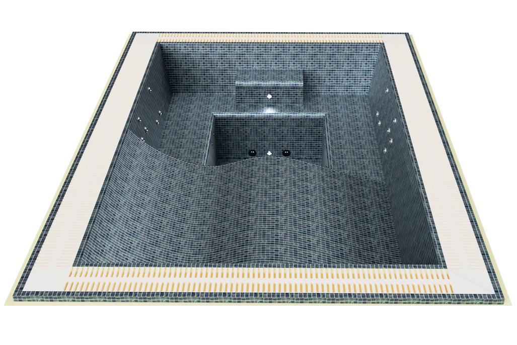 Spa jacuzzi carrelage rectangulaire deux couchettes