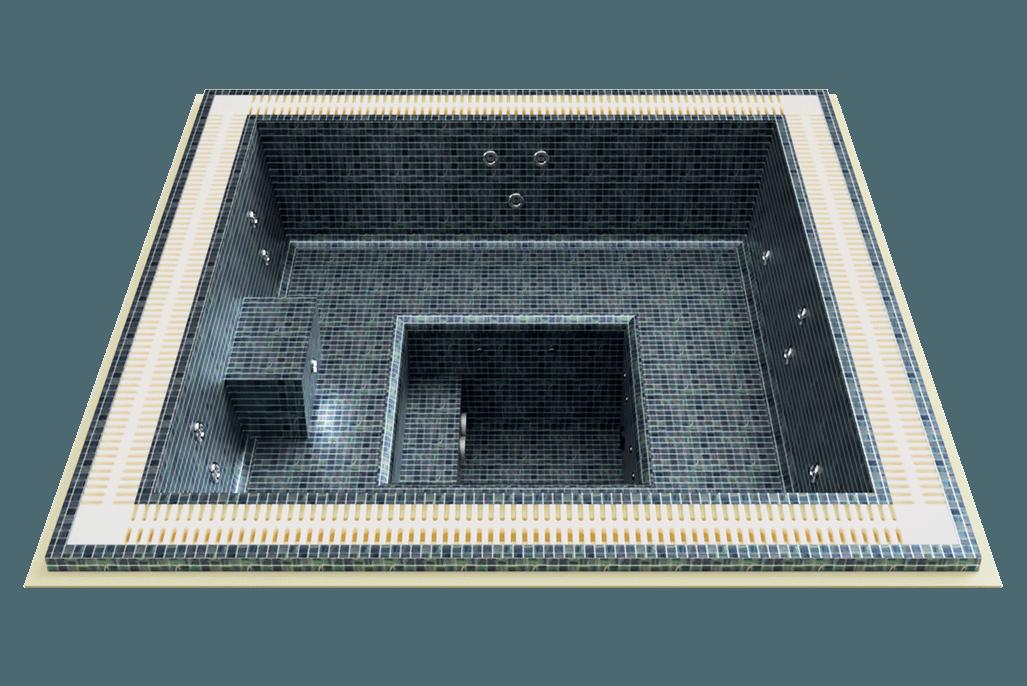 Spa mosaïque carré à débordement