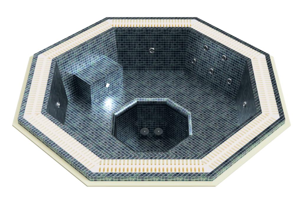 Spa mosaïque octogonal à débordement