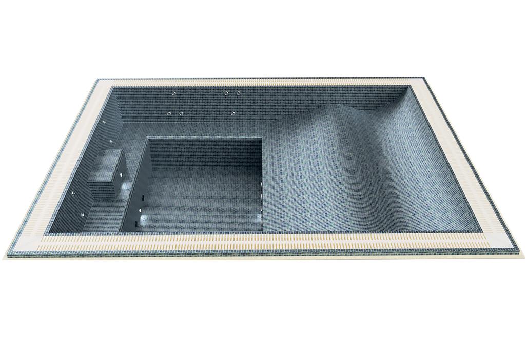 Spa mosaique rectangulaire quatre places ammongées